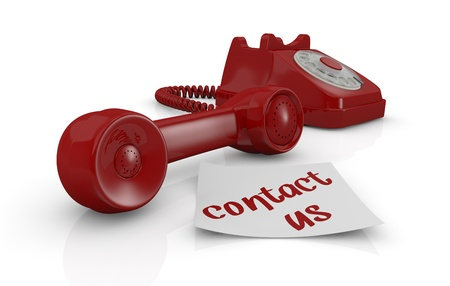 one vintage telephone with a sticky note and text: contact us (3d render) Stock Photo - 17235324
