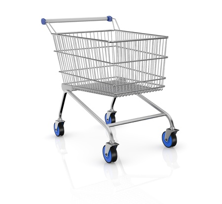 supermarket cart: one empty shopping cart with blue wheels (3d render)