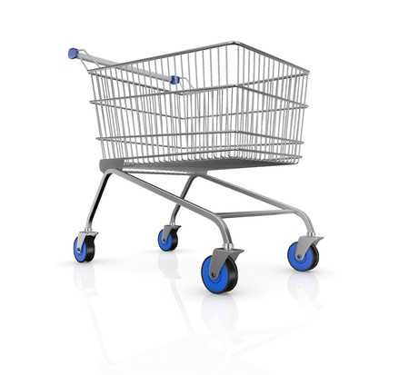 one empty shopping cart with blue wheels (3d render) Stock Photo - 17235289