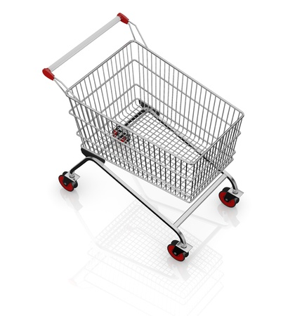 one empty shopping cart with red wheels (3d render) Stock Photo - 17235263