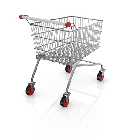 one empty shopping cart with red wheels (3d render) Stock Photo - 17235259