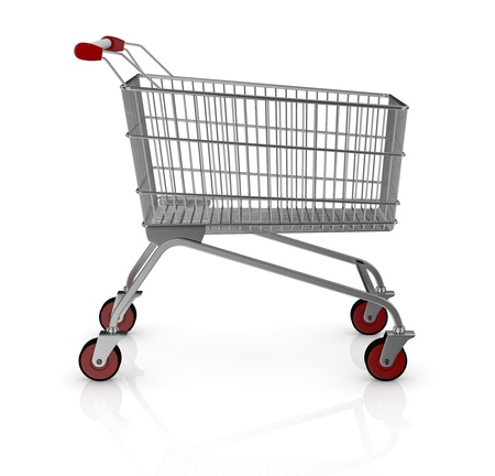 one empty shopping cart with red wheels (3d render) photo