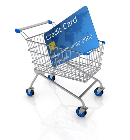 one empty shopping cart with a credit card (3d render) photo