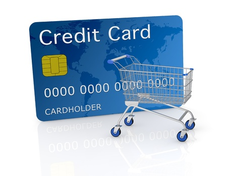 one empty shopping cart with a credit card (3d render) Stock Photo - 17235282
