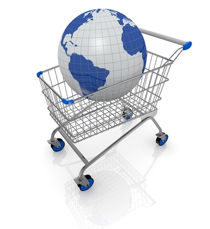 supermarket cart: one shopping cart with a world globe on it (3d render)