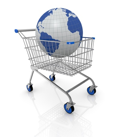 one shopping cart with a world globe on it (3d render) photo
