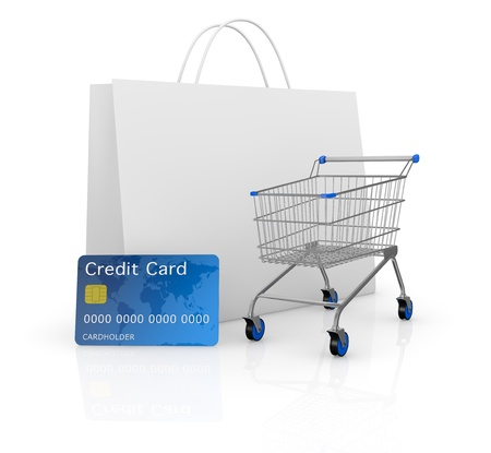 credit card payment: one empty shopping cart with a credit card and a shopping bag (3d render)