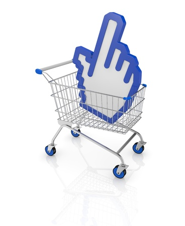 one shopping cart with a hand cursor icon (3d render) photo