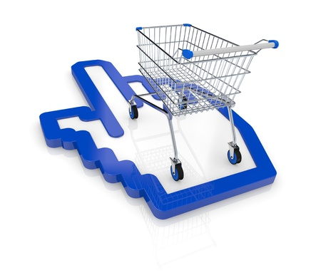 one shopping cart with a hand cursor icon (3d render) Stock Photo