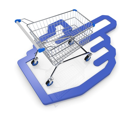 one shopping cart with a hand cursor icon (3d render) Stock Photo - 17235261