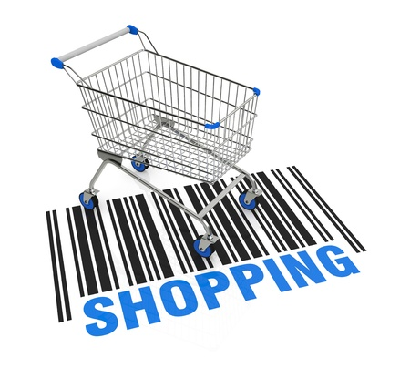 one empty shopping cart with a bar code on the floor (3d render) Stock Photo - 17235287