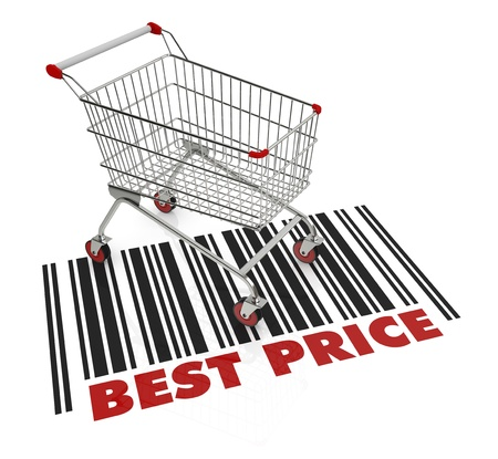 shopping trolley: one shopping cart with text: best price (3d render) Stock Photo