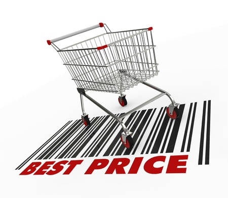 one shopping cart with text: best price (3d render) Stock Photo - 17235266