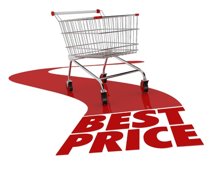 supermarket cart: one shopping cart with text: best price (3d render) Stock Photo