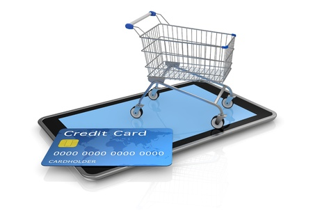 tablet pc with a credit card and a shopping cart (3d render) Stock Photo