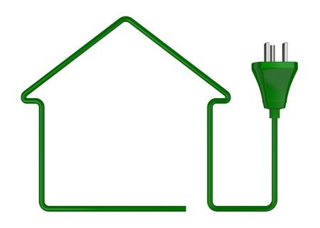 eficiencia energética: una casa estilizada hecha con un cable eléctrico (3d render) Foto de archivo