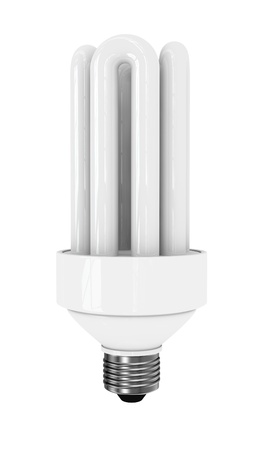compact fluorescent lightbulb: front view of an energy saving bulb (3d render) Stock Photo