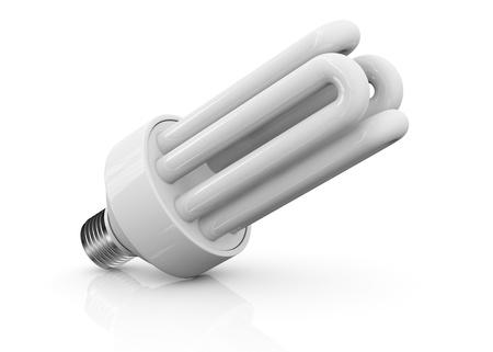 compact fluorescent lightbulb: close up view of an energy saving bulb (3d render) Stock Photo