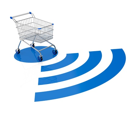 shopping trolley: one shopping cart with a wireless symbol (3d render) Stock Photo
