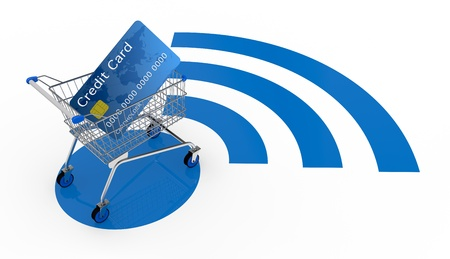 one shopping cart with a wireless symbol (3d render) Stock Photo - 17235258