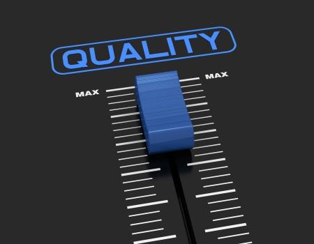 certification: un mezclador slider cerca del valor m�ximo con la etiqueta: calidad (3d render) Foto de archivo