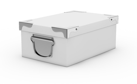 one white box closed, with metal edges and handles. the box is closed (3d render) Stock Photo - 17235319
