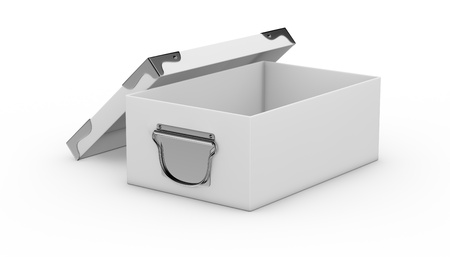 one white box closed, with metal edges and handles. the box is open (3d render) Stock Photo - 17235316