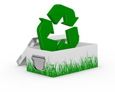 one box with grass drawn on the sides and a recycling symbol on it (3d render) photo