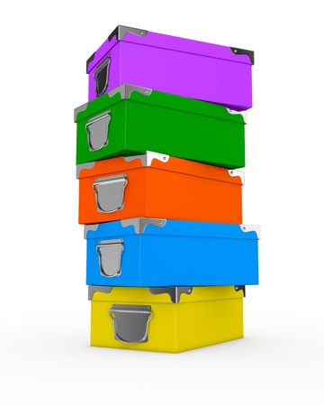 one pile of colorful boxes (3d render) Stock Photo - 17235317