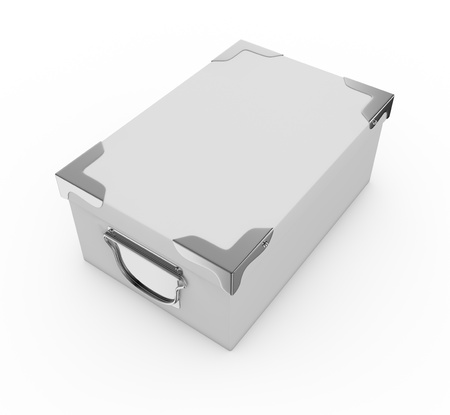 one white box closed, with metal edges and handles. the box is closed (3d render) Stock Photo - 17235326