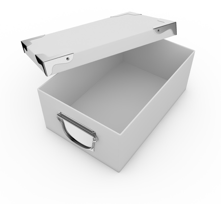 one white box closed, with metal edges and handles. the box is open (3d render) Stock Photo - 17235297