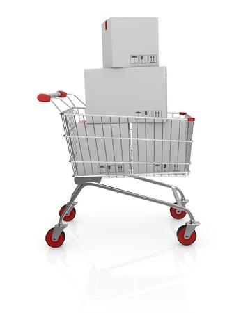 shopping cart with carton boxes (3d render) Stock Photo - 17235329