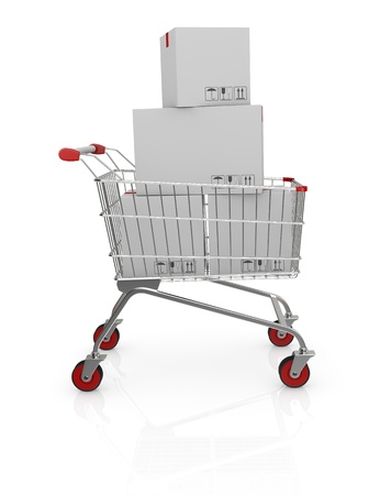 shopping cart with carton boxes (3d render) Stock Photo - 17235329