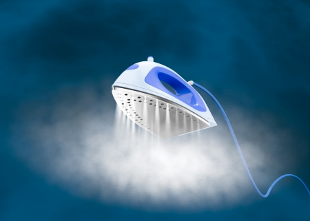 one iron with a cloud of steam (3d render) Stockfoto