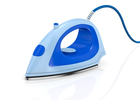 Steam iron: one steam iron on white background (3d render) Stock Photo
