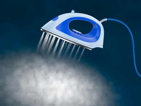 flat iron: one iron with a cloud of steam (3d render) Stock Photo