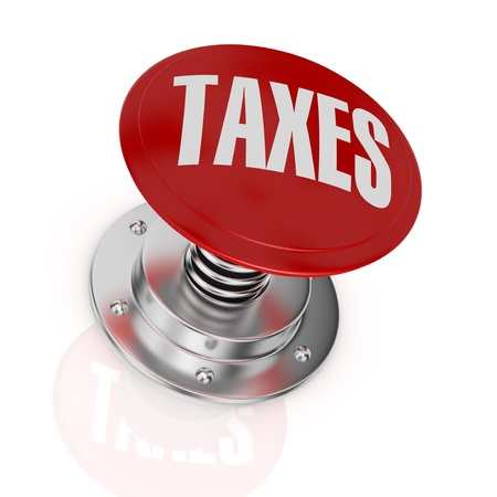 taxation: one push-button with the text: taxes (3d render)