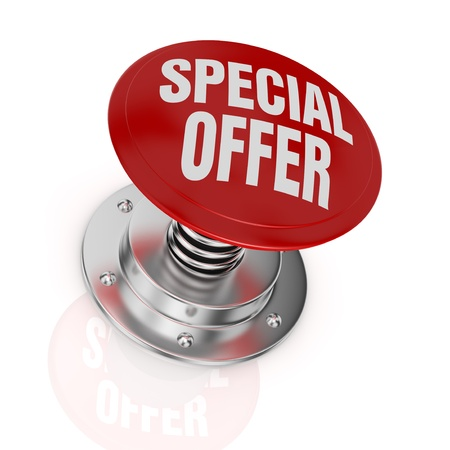 one push-button with the text: special offer (3d render) Stock Photo - 17574516