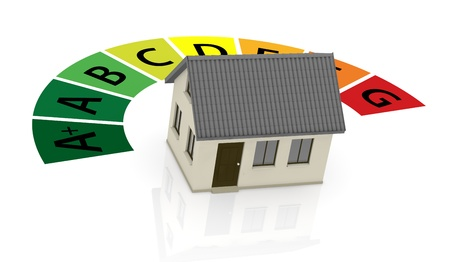 low cost: energy performance scale with a house (3d render) Stock Photo