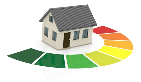 low energy: energy performance scale with a house (3d render) Stock Photo