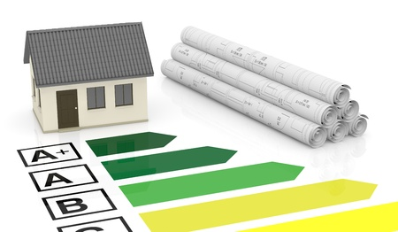 energy performance scale with a house and plan (3d render) Stock Photo - 17574534