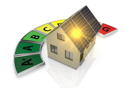 low energy: energy performance scale with a house and solar panels (3d render) Stock Photo