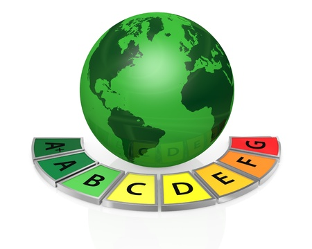 energy performance scale with a world globe (3d render) Stock Photo - 17574491