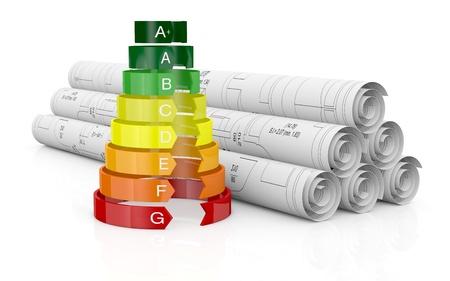 Energieeffizienz-Skala mit einem Haus-Projekt (3d render)