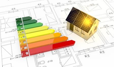Energieeffizienz-Skala mit einem Haus und Plan (3d render) Lizenzfreie Bilder
