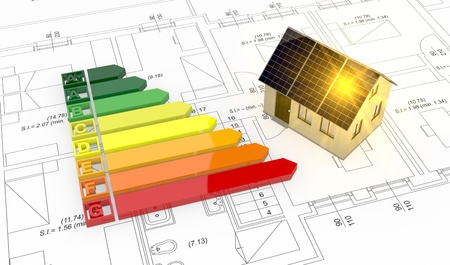 energy performance certificate: energy performance scale with a house and plan (3d render) Stock Photo