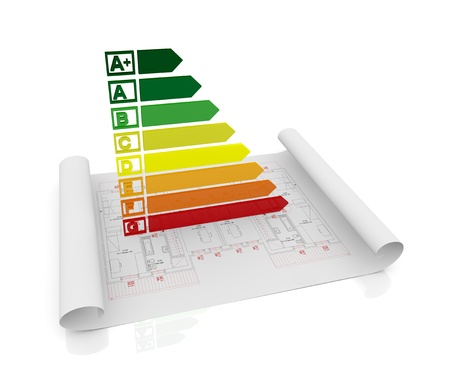 energy performance certificate: energy performance scale with a house project (3d render) Stock Photo