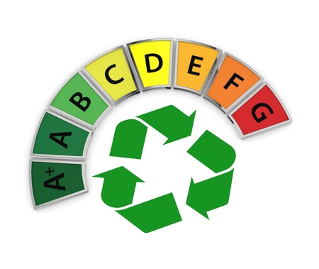 energy performance scale with a recycling symbol (3d render) Stock Photo - 17574494