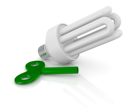 windup: one energy saving lamp with a wind-up key (3d render) Stock Photo