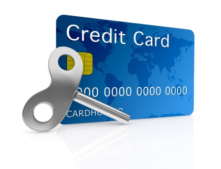 one credit card with a wind-up key (3d render) Stock Photo - 17574519